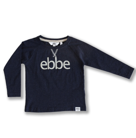 Ivo - Navy blue long sleeved t-shirt with ebbe logo for children