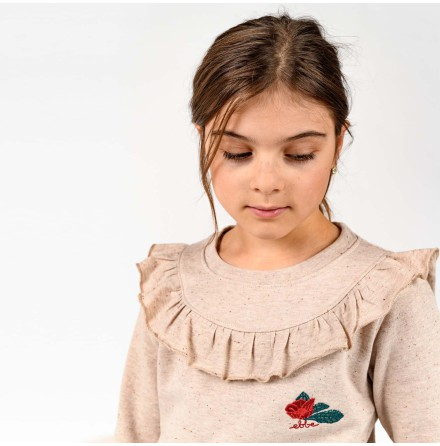 Tallis - Sweater with ruffle and embroidery for children