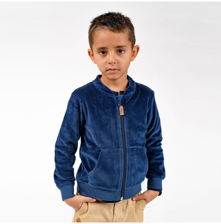 Jamone - Blue velour jacket for children