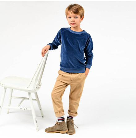 Jacory - Blue velour sweater for children