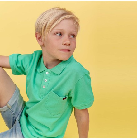 Harper - Green polo shirt for children
