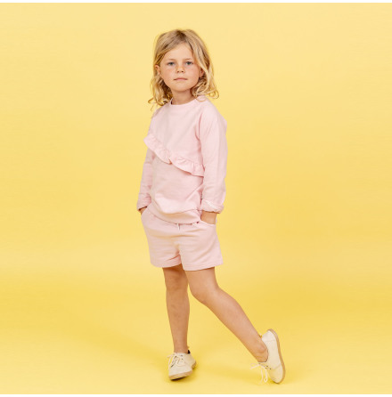 Heidi - Pink sweater with frill for children